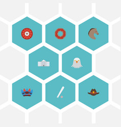 Flat icons indian mascot white house roulette vector