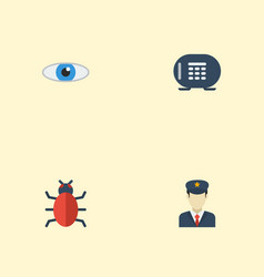 flat icons safe virus policeman and other vector image vector image