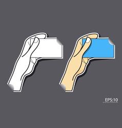 Hand card sticker vector