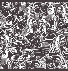 hand drawn asians buddhists people cartoon vector image