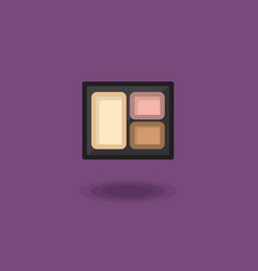 Icon compact eye shadow three pastel colors vector