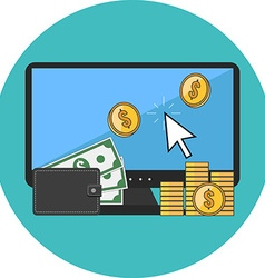 Making money online concept flat design icon in vector
