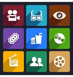 Movie Flat Icons Set 38 vector image vector image