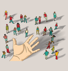 Offer group people hand palm vector
