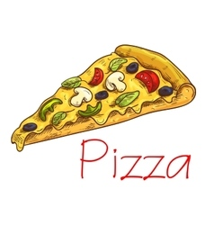 Pizza with cheese and vegetables sketch vector