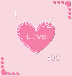 Romantic embroidered heart vector