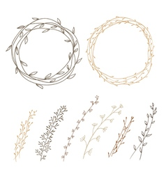 Set of decorative doodle wreaths vector image vector image