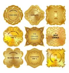 Set of golden metal design elements on white vector image vector image