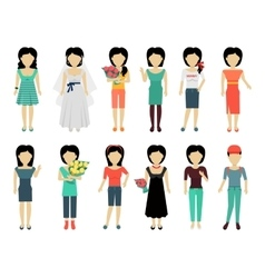 Set of woman characters vector