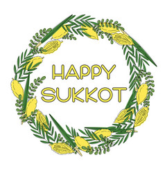 Sukkot jewish holiday greeting card vector