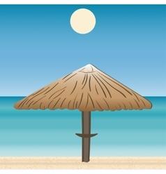 Umbrellas coast horizon landscape vector image