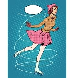 Woman figure skater retro sport vector image