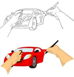Hand drawing car vector