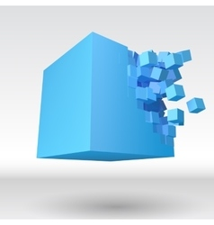 3D cube explosion with cubical particles vector image