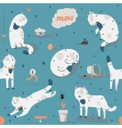 Seamless pattern with kind funky white cats fun vector