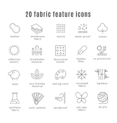 Fabric feature line icons comfort wear and vector