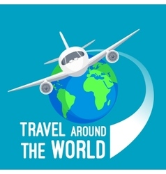 Travel around world by fast means of vector