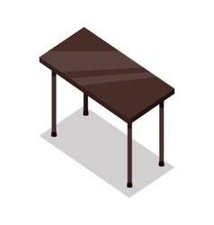 Isometric wooden table in flat vector