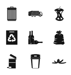 Waste icons set simple style vector