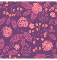 Purple flowers and berries seamless pattern vector image