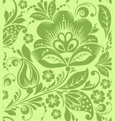 greenery russian floral seamless pattern texture vector image