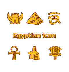 Set of design egypt travel icons culture ancient vector