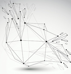3d low poly object with black connected lines and vector