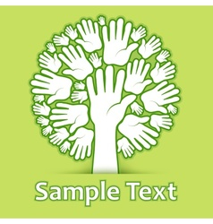 Hands of tree on green vector image