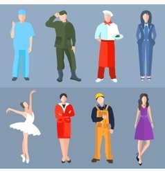 Set of people different professions cook soldier vector