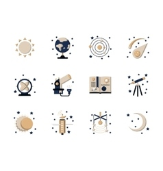 Flat style astronomy icons vector
