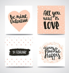 Set of trendy hipster valentine cards hand drawn vector