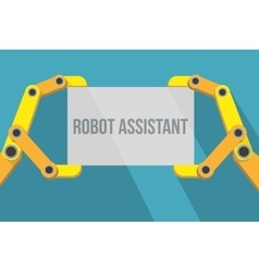 Robot hands holding blank sign with space for text vector