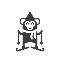 Flat icon in black and white style monkey skiing vector