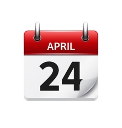 April 24 flat daily calendar icon date vector