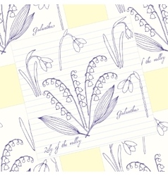 Seamless pattern with lilies of the valley vector