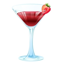 Alcohol strawberry cocktail wine glass with vector
