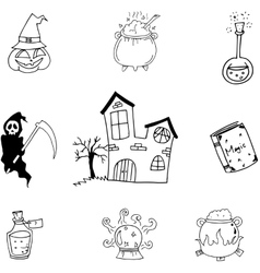 Magic set halloween in doodle vector