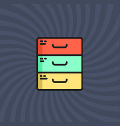 archive icon simple line cartoon vector image vector image