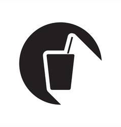 black icon with drink with straw vector image vector image