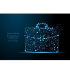 briefcase low poly blue vector image