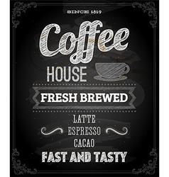 Coffee Poster on Chalk Board Design vector image vector image