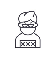 criminal man line icon sign vector image