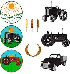 farm fresh labels Tractors vector image