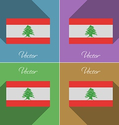 Flags Lebanon Set of colors flat design and long vector image vector image