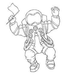 greeting astronaut silver space suit vector image
