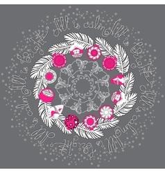 Hand drawn Christmas mandala with pine vector image