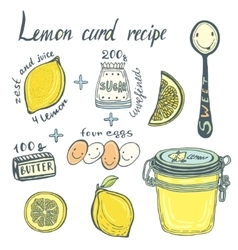Homemade Lemon Curd recipe book page vector image