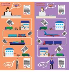 Logistics and transportation concept flat banner vector image