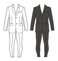 Mans suit jacket skinny jeans outlined template vector image vector image