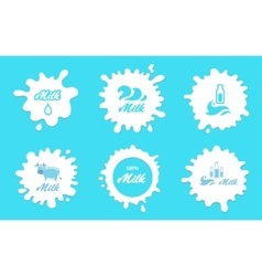 Milk splashes labels or logos elements vector